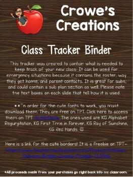 Student Tracker Binder