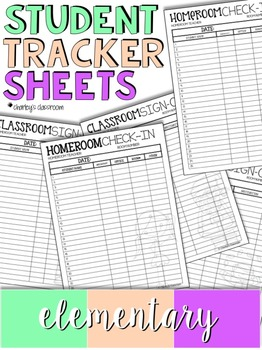 Student Tracker Sheets   Elementary