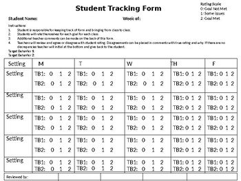 Student Tracking Form