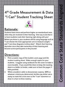Student Tracking Sheet for Grade 4 CCSS Math: Measurement & Data