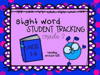 Student Tracking Sight Words McGraw Hill Wonders Grade 2
