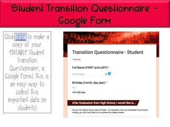 Student Transition Questionnaire - Google Form - Editable