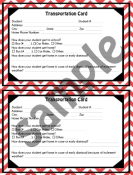 Student Transportation Card - Red Chevron