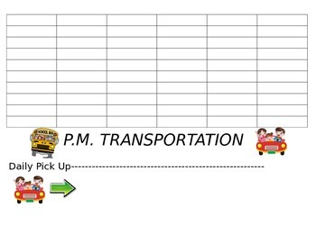 Student Transportation Chart--Will show all parts when downloaded