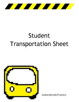 Student Transportation Printable