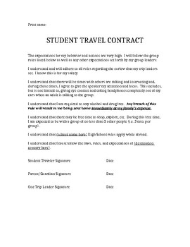Student Travel Abroad : behavior contract
