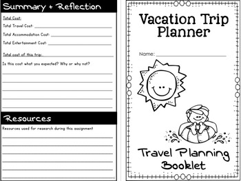 Vacation Trip Planner- Authentic Trip Planning Activity