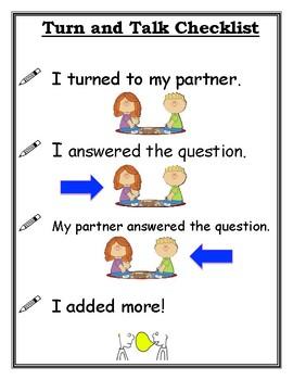 Student Turn and Talk Checklist