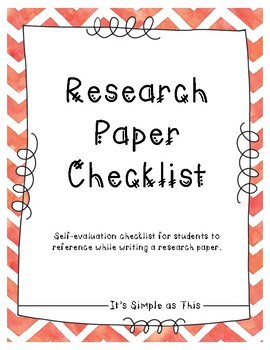 Student-Use Checklist: Writing a Research Paper