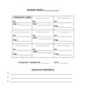 Student Username Sheets