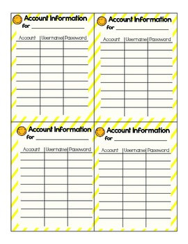 Student Username/Password Cards for UPPER elementary