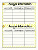 Student Username/Password Cards for LOWER elementary