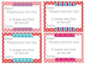 Student Valentine Gift Thank You Notes {pre-written & personalized versions}