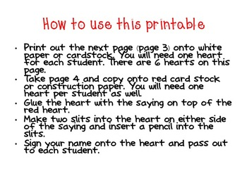 Student Valentine Printable
