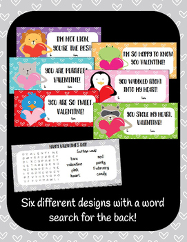 Student Valentines : Animal Themed - Editable