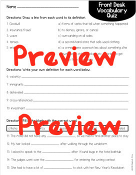 Student Vocabulary Book, Quiz, & Word Wall Cards - Front Desk by Kelly Yang