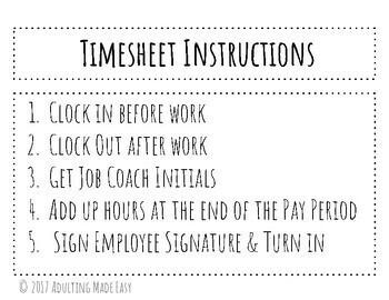 Student Vocational Timesheets - Life Skills Career Money Management