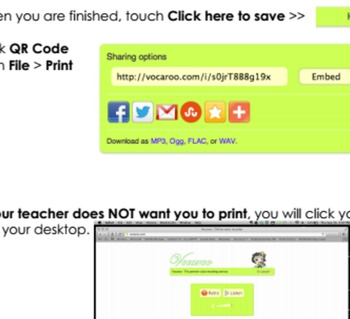 Student Voice QR Codes with Vocaroo