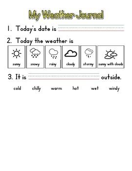 Student Weather Journal for EL K M2.U2