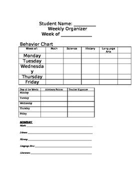 Student Weekly Behavior/ Grades Organizer