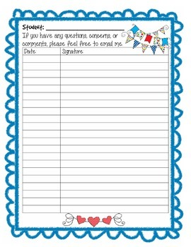 Student Weekly Binder Signature Sheet