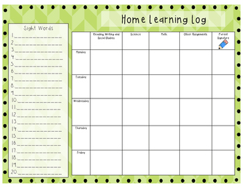 Student Weekly Home learning Logs [FREEBIE]