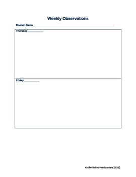 Student Weekly Observation Teacher Behavior Log