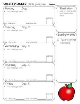 Student Weekly Planner - Editable