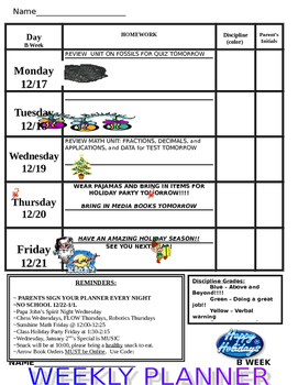 Student Weekly Planner and Homework Chart