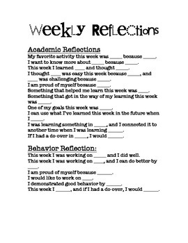 Student Weekly Reflection Prompts