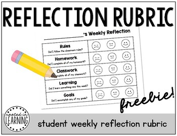Student Weekly Reflection Rubric (FREEBIE)
