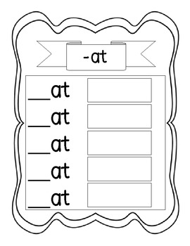 Student Word Families Book