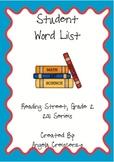 Student Word List Reading Street, Grade 2, 2011 & 2013 Series