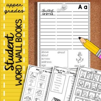 Student Word Wall Book upper grades