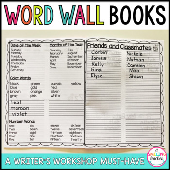 Student Word Wall Books