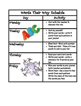 Student Words Their Way Schedule