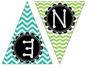 Student Work Banner - Lime Green & Teal Chevron