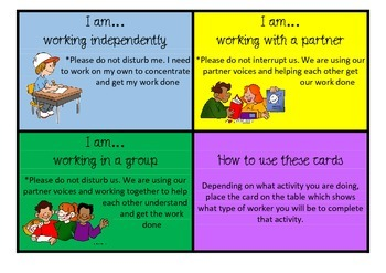 Student Work Cards