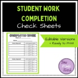 Student Work Completion Check Sheets