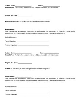 Student Work Completion Contract by Jessica LePera | TpT
