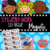 1st GRADE~Student Work Display Magnets ~ Happy Kids ~ Open House or EOY Gifts