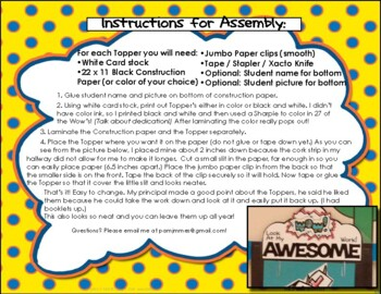 Student Work Display - Toppers for Display in Classroom or Hall!