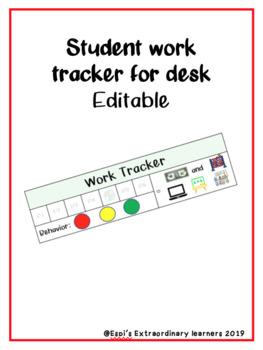 Student Work Tracker for Desk- Editable