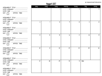Student Workload Calendar (EDITABLE) (2017-2018)