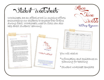 Student Worksheet Planning and Template