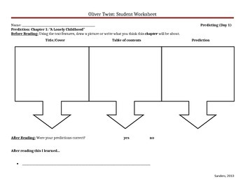 Oliver Twist (Adapted Version) Student Worksheets