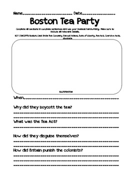 Student Worksheets for the Causes of the American Revolution