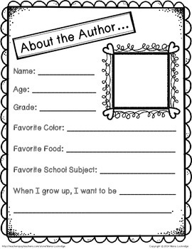 """Student Writing Booklet with """"Dedication"""" and """"About the Author"""" Pages"""