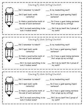 Student Writing Checklist