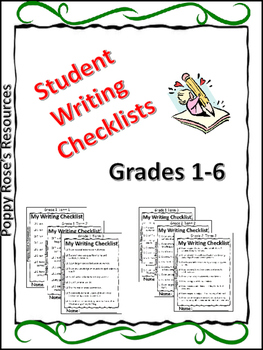 Writing rubric grade 1 teaching resources teachers pay teachers student writing checklists for grade 1 6 self assessment fandeluxe Gallery